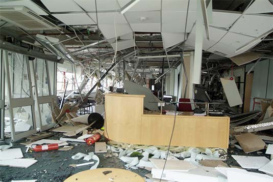 destroyed office building